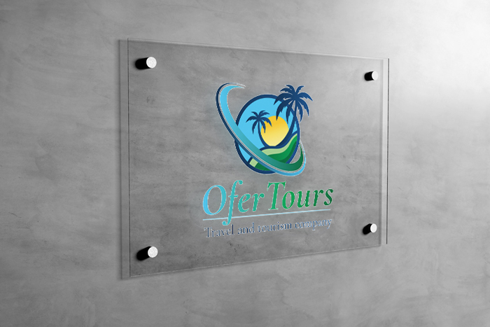 View of a Glass Sign on Wall Mockup